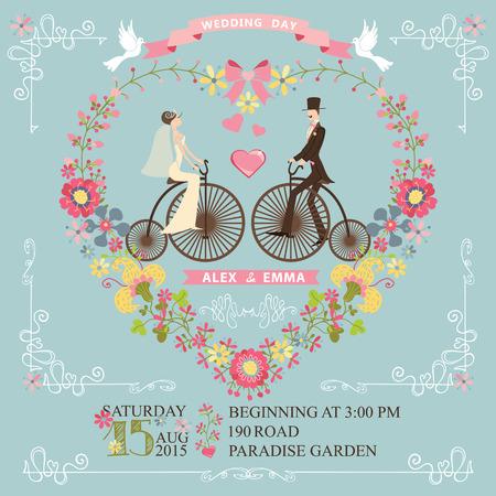 Leuke uitnodiging bruiloft met bloemen krans in hart vorm, wervelende border.Cute cartoon paar bruidegom en brideon retro fiets met vignetten, linten, pigeons.Vintage Vector ontwerpsjabloon