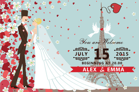 wedding bride: Retro wedding invitation with groom ,bride  ,pigeons,Eiffel tower.Flying hearts and flowers background.Spring , summer design template, save the date card. romantic Vector illustration
