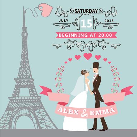Vintage huwelijk uitnodiging met Cartoon bruid, bruidegom, bloemen krans, wervelende grenzen, ribbons.Paris straat, Eiffeltoren background.Cute ontwerp template.Vector illustratie.