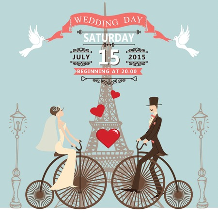 pink bike: Vintage wedding invitation with Cartoon bride ,groom on retro bike with vignettes,ribbon,pigeons.Paris street,Eiffel tower,streetlight background.Cute design template.Vector illustration.
