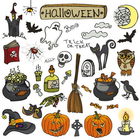brujas caricatura: fiesta de Halloween de la bruja icons.Doodle mano dibujo elementos fantasmag�ricos set.isolated art�culos, las letras y de caramelo, gato, calabaza naranja, murci�lagos, web y escoba, fantasma y el cr�neo, libros y ara�as, Raven .Cartoon ilustraci�n vectorial, retro