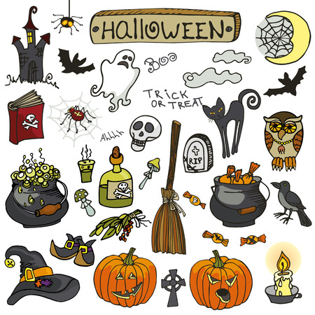 Halloween party icons.Doodle hand drawing Witch spooky elements set.Isolated items, lettering and candy,cat,orange pumpkin,bats,web and broom,Ghost and skull,book and spider, Raven .Cartoon vector illustration,Retro