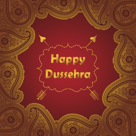 Happy Dussehra holiday background.Gold frame with oriental Paisley lace ornament, indian traditional pattern with title,label and arrow.Vector card,poster.