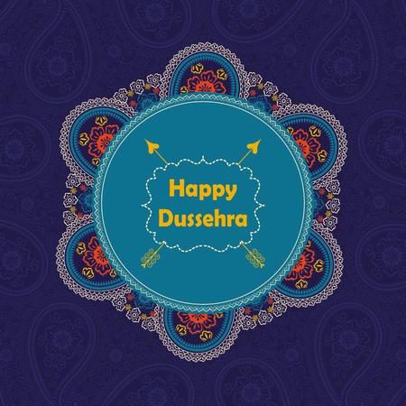 Glückliche Dussehra Ferien background.Circle Frame mit orientalischen Paisley-Spitze Ornament, indischen traditionellen farbigen Muster mit Titel, Label und arrow.Vector Karte Poster. Standard-Bild - 45952948