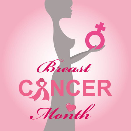 cancer ribbons: Breast Cancer Awareness background.Woman silhouette with female sign like hope symbol,pink ribbons,text title.Heart and decor.Vector card or poster.Square.