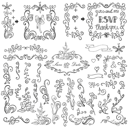 Bruiloft doodles bloemen decor elementen set.Swirling grens, bloei bloemen, takken, krans frames, hoek en pijl, kop en ribbons.Hand sketched.Design sjabloon, uitnodiging, kaart voor vakantie, birthday.Vintage Vector