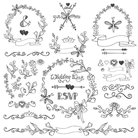 floral swirls: Wedding Doodles floral decor elements set.Swirling border,bloom flowers,branches,wreath frames,corner and arrow,headline and ribbons.Hand sketched.Design template,invitation,card for holiday,birthday.Vintage Vector Illustration