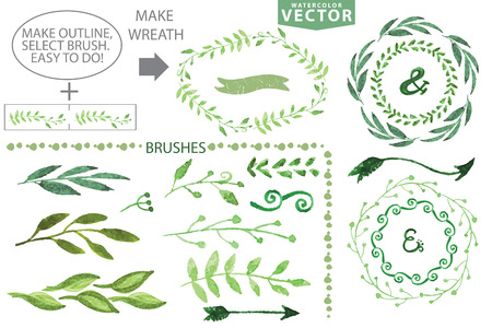 branches and leaves: Set of watercolor wreaths and laurels. Hand painted branches,leaves,petal decor elements.For design template,invitation.Watercolor Handscetched brushes. Nature,organic items.Vector.Easy to edit