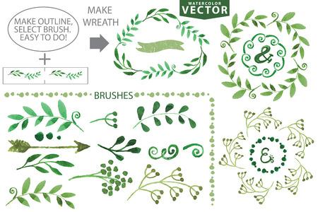 수채화 화환과 월계수의 집합입니다. 손으로 그린 나뭇 가지, 나뭇잎, 꽃잎 장식 elements.For 디자인 서식 파일, invitation.Watercolor Handscetched 브러쉬. 자