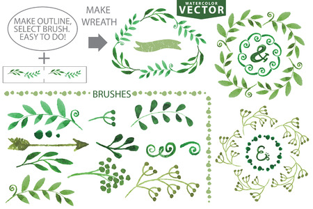 Set of watercolor wreaths and laurels. Hand painted branches,leaves,petal decor elements.For design template,invitation.Watercolor Handscetched brushes. Nature,organic items.Vector.Easy to edit Stok Fotoğraf - 45988005