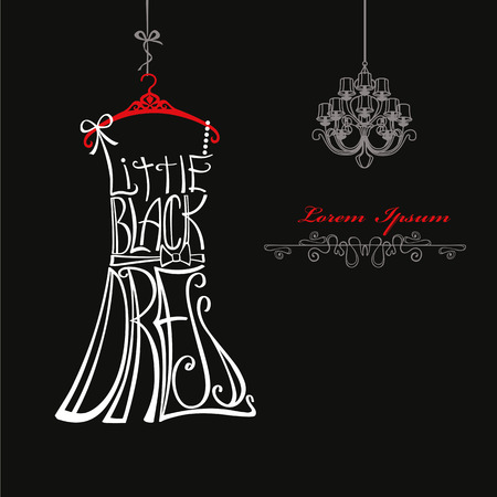 black dress: Typography Dress Design.Silhouette of woman classic little black dress from words  with chandelier,swirl border. Swirling curves font.Fashion Vector illustration.Design template,background Illustration