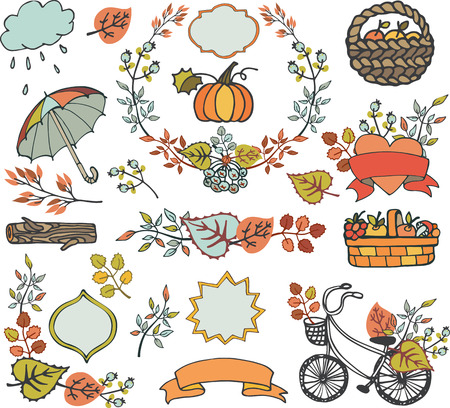 Autumn elements.Colored Leaves ,tree branches,bike,ribbons and labels,badges shapes,umbrella, backet with harvest.Hand drawing doodle set.Plant decorations,fall vector illustration.
