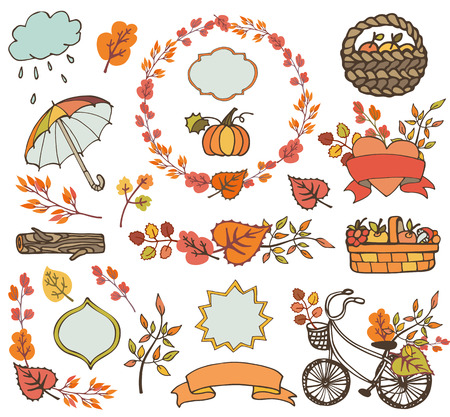 umbrella month: Autumn elements.Colored Leaves ,tree branches,bike,ribbons and labels,badges shapes,umbrella, backet with harvest.Hand drawing doodle set.Plant decorations,fall vector illustration.