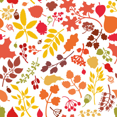 textille: Vector autumn leaf and berries seamless pattern background.Colored Silhouette of berries, leaves,branches,acorn.Fall harvest.Natural wrap ornament, wallpaper  backdrop,textille.Vector Illustration Illustration