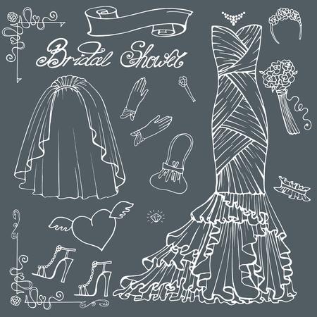 Vintage composition of wedding long dress with handbag, high heel shoes ,veil,garter,rose bouquet ,gloves,swirling border.Retro romantic.Fashion bridal shower vector Illustration