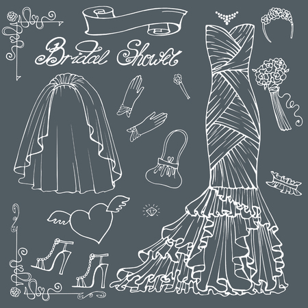 outline wedding: Vintage composition of wedding long dress with handbag, high heel shoes ,veil,garter,rose bouquet ,gloves,swirling border.Retro romantic.Fashion bridal shower vector Illustration