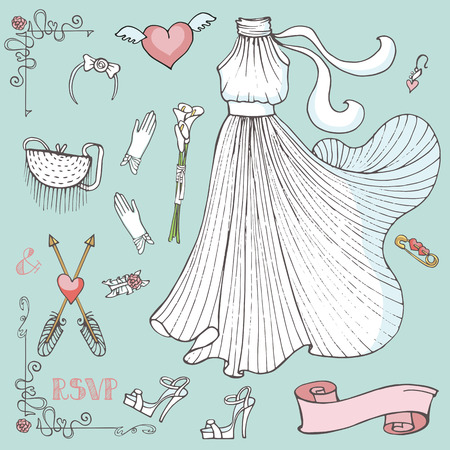 pretty dress: Vintage composition of wedding long dress with handbag, high heel shoes ,garter,rose bouquet ,swirls,arrows.Retro romantic.Fashion bridal shower vector Illustration in outline