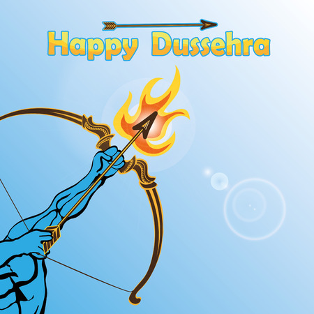 carnero: Feliz brazo Dussehra card.Lord Rama con el arco y la flecha y el fuego de matar a Ravana .Holyday background.Vector