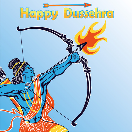 holyday: Happy Dussehra card.Lord Ramaportrait with bow and arrow and fire killing Ravana .Holyday background.Vector Illustration