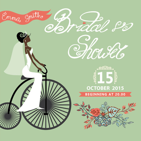 mulatto: Bridal shower card with mulatto  bride on retro bicycle and floral garland .Vintage wedding invitation.Fashion vector Illustration