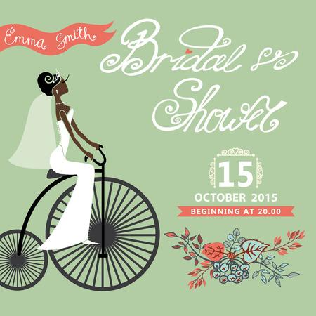 bicicleta retro: Tarjeta de la ducha nupcial con mulato novia en bicicleta retro y guirnalda floral .vintage boda invitation.Fashion vector Ilustraci�n Vectores