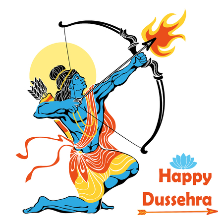 carnero: Feliz Dussehra card.Lord Rama con arco y flecha matar a Ravana .Holyday background.Vector Vectores