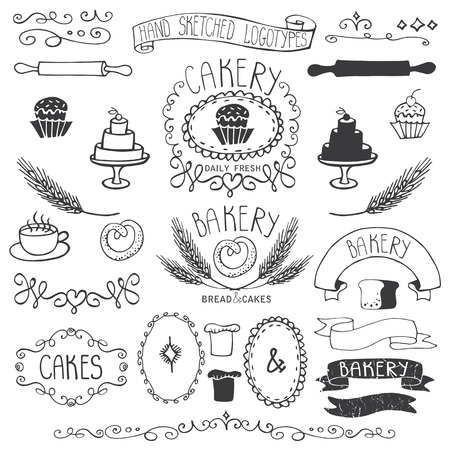 sketched icons: Vintage Retro Bakery Badges,Labels. Colored hand sketched doodles and design elements.Bread, loaf, wheat ear, cake icons,border,ribbon. Easy to make. Outline Vector Vectores