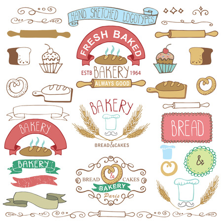 Vintage Retro Bakery Badges,Labels.Colored hand sketched doodles and design elements.Bread, loaf, wheat ear, cake icons,border,ribbon. Easy to make.Vector