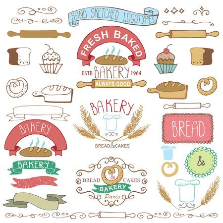 pastel: Vintage Retro Pin Panader�a, mano Labels.Colored esbozado Garabatos y dise�o elements.Bread, pan, oreja de trigo, iconos pastel, frontera, cinta. F�cil de make.Vector