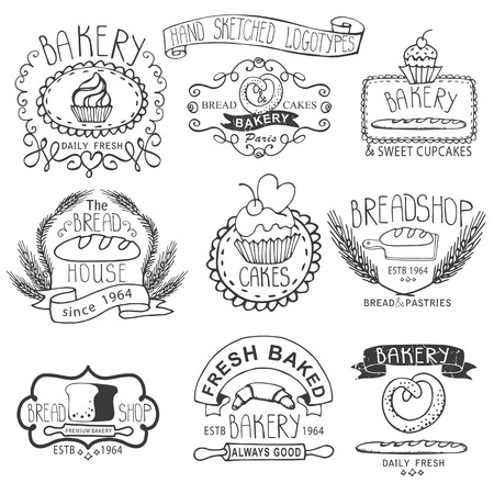 sketched icons: Vintage Retro Bakery Badges,Labels,.Outline hand sketched doodles and design elements.Bread, loaf, wheat ear, cake icons. Vector Vectores