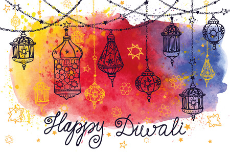 religions: Happy Diwali festival.Traditional hanging lamp in Doodle style.Watercolor splash.Greeting card.Hand drawig decor.Vector background.Indian religion holiday Holy diya Shubh Deepawali.Horizontal Illustration
