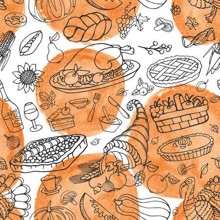 fall harvest: Thanksgiving day icons  seamless pattern,doodle background with Watercolor splash texture.Autumn harvest decor elements with wreath .Hand drawing holiday symbols. Linear vintage vector illustration.