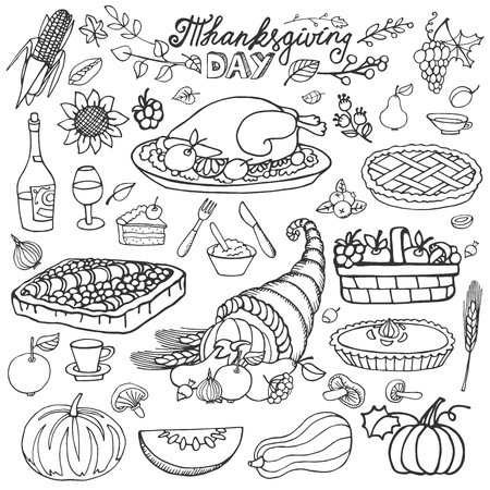 cornucopia: Thanksgiving day icons,doodle food set.Autumn harvest decor elements.Hand drawing holiday dinner symbols and cornucopia. Linear vintage vector illustration.