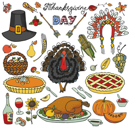 indian happy family: Thanksgiving day icons,doodle set.Autumn harvest decor elements.Hand drawing holiday symbols. Colorful vintage vector illustration.