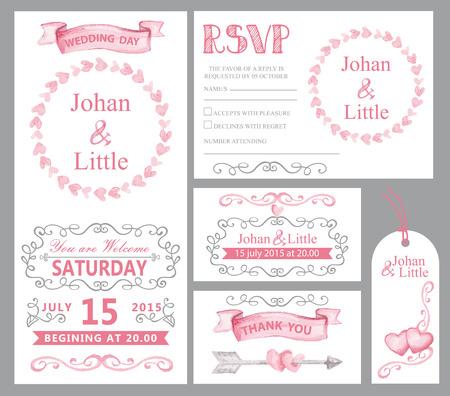 circulo de personas: tarjeta de invitación de la boda de la acuarela set.Pink corazones, cintas, remolinos de las fronteras grises, marcos de decoración, flechas, text.Tag, RSVP, gracias, ahorre el vector artístico date.Cute