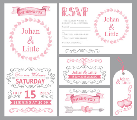 arrows circle: Watercolor wedding invitation card set.Pink hearts,ribbons,grey swirling borders,frames decor,arrows,text.Tag,RSVP,Thank you,save the date.Cute artistic vector Illustration