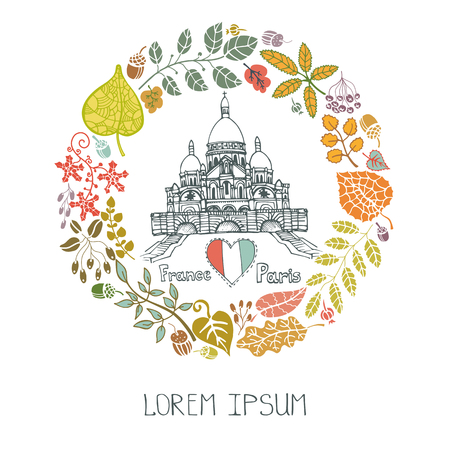 coeur: Paris Famous landmarks with autumn leaves wreath,round compositions.Vintage doodle  sketchy.Sacre Coeur Montmartre art.Fall design template,Vector illustration,poster.