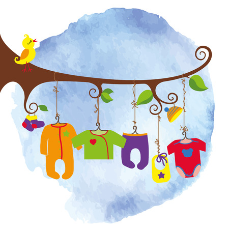 for boys: Colorful newborn baby clothes hanging on rope in the tree branches. Baby fashion for girls,boys , unisex.Poster,template.Funny vector Illustration.Watercolor stein background
