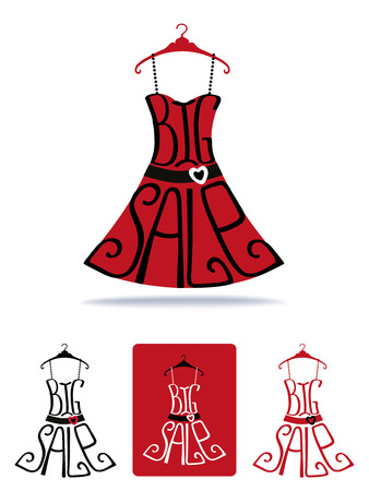 clothing label: Big Sale lettering in red dress shape.Icons set.Lettring,Typographic background design.Shirt hanging on hanger.Fashion vector Illustration.For summer,christmas sale poster,sticker,web,print