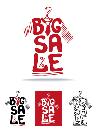 hanger: Big Sale lettering in  tee shirt shape.Icons set.Lettring,Typographic background design.Shirt hanging on hanger.Summer Fashion vector Illustration.For poster,sticker,web,print