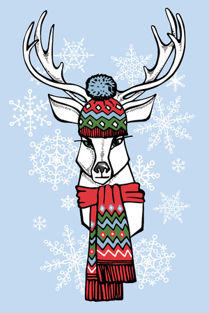jacquard: Hand Drawn doodle Illustration of Deer Hipster in Jacquard hat and scarf with snowflakes background. Merry Christmas ,Happy new year Card .Fashion vector