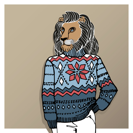 jacquard: Hand Drawn doodle Illustration of  lion  Hipster in Jacquard hat and sweater . Merry Christmas ,Happy new year Card .Fashion vector