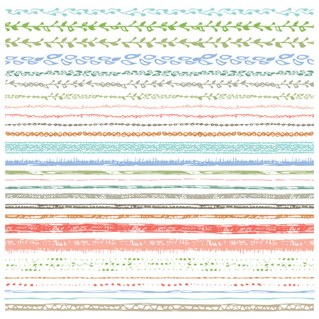Hand drawn  line border set.Seamless pattern, ornament, ribbon.Colored Doodle decor.For decorating greeting card, design template, invitations, holiday, baby design.Vector