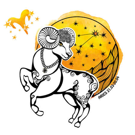 Aries zodiac sign .Horoscope constellation,stars in circle composition.Watercolor stein,hand painting spot.White background.Symbol ,sign of fire.Sheep,ram  animal.Artistic Vector  Illustration. Ilustração