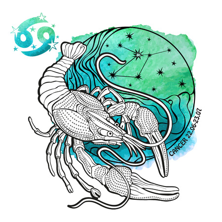 Cancer zodiac sign .Horoscope constellation,stars in circle composition.Watercolor stein,hand painting spot.White background.Symbol,sign of water.Sea life, animal.Artistic Vector  Illustration.