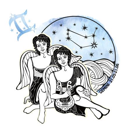 Géminis signo del zodiaco .Horoscope constelación, las estrellas en círculo composition.Watercolor Stein, pintura de la mano spot.Two boys.Symbol, signo de la ilustración vectorial air.Artistic.