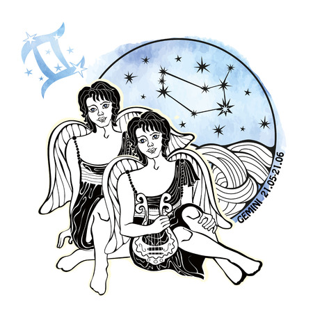 Gemini zodiac sign .Horoscope constellation,stars in circle composition.Watercolor stein,hand painting spot.Two boys.Symbol,sign of air.Artistic Vector  Illustration.