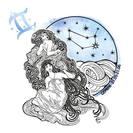 Zodiaco Géminis signo .Horoscope constelación, estrellas en círculo composition.Watercolor stein, mano pintura spot.Two hermosa doble girls.Symbol, signo de la Ilustración air.Artistic vectorial.