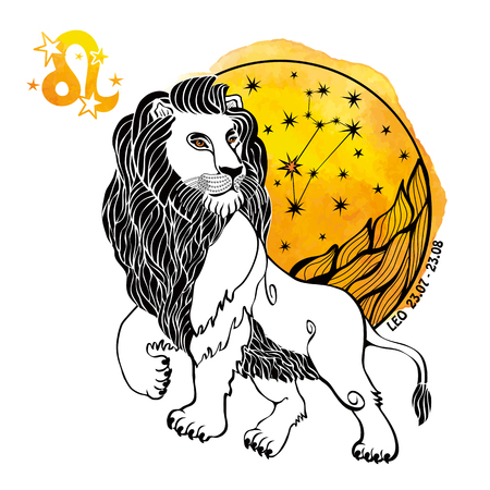 Leo zodiac sign .Lion Horoscope constellation,stars in circle composition.Yellow Watercolor splash texture,hand painting spot.White background.Symbol,sign of fire.Wild  animal.Artistic Vector  Illustration.