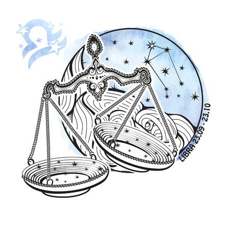 Libra zodiac sign .Horoscope constellation,stars in circle composition.Watercolor splash texture,hand painting art.Symbol,sign of air.Retro Artistic Vector  Illustration. Vettoriali